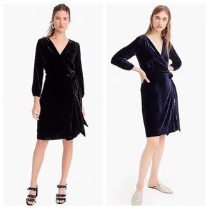 J. Crew Wrap Dress in Black Drapey Velvet